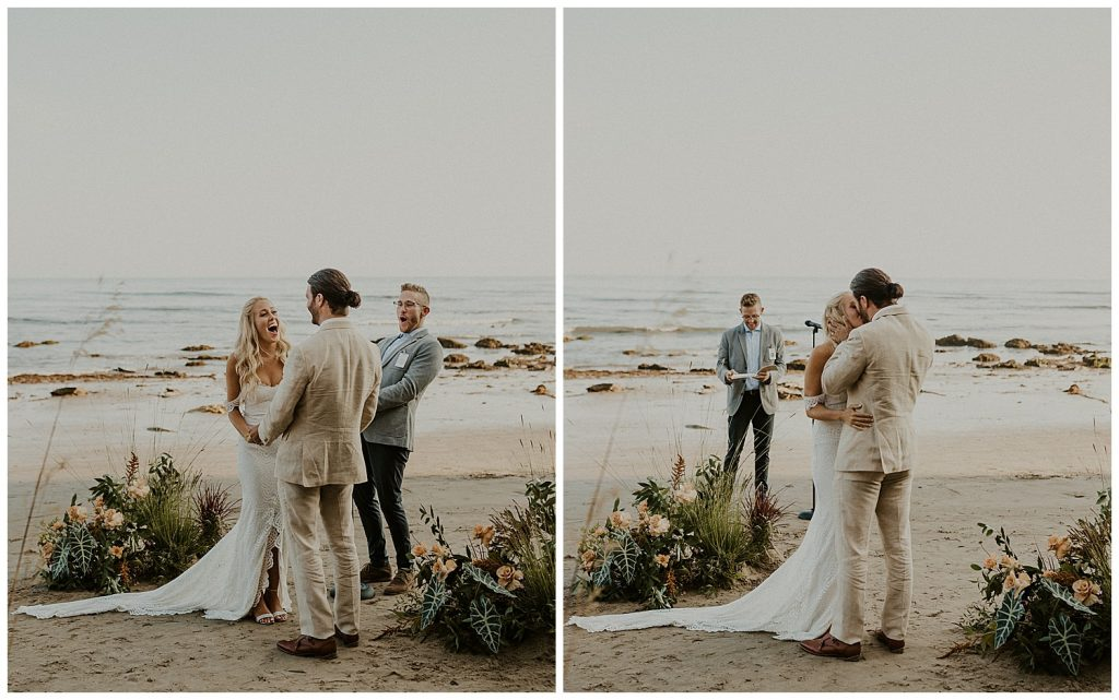 The couple is shouting in excitement over just saying I do. The moment after being told you may kiss the bride!