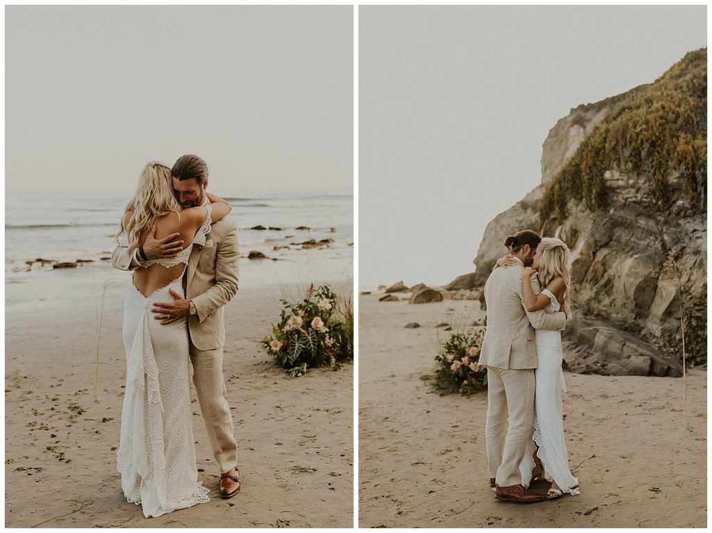 Couple enjoying their first dance being married.