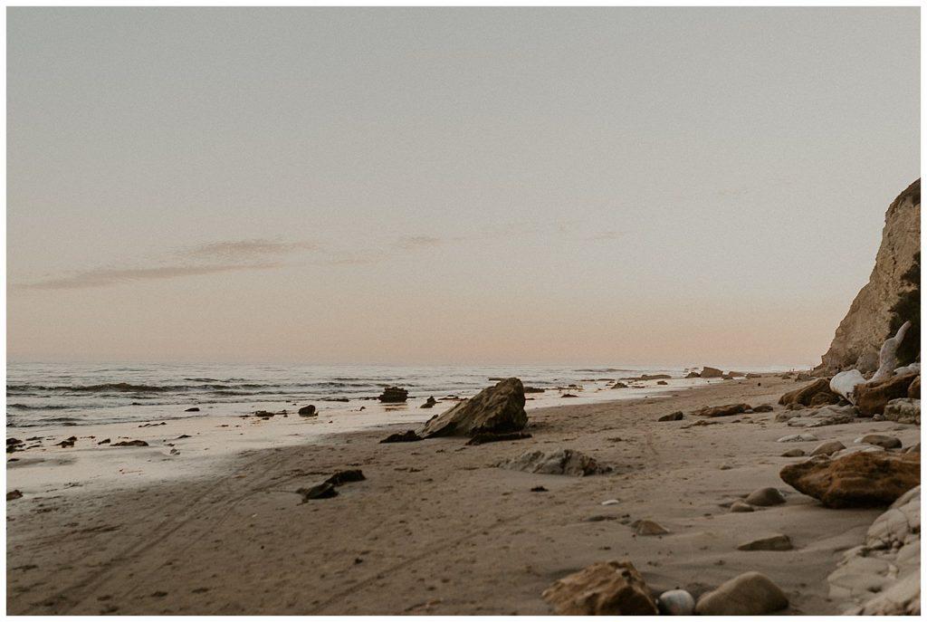 Shoreline Beach, intimate wedding location, at sunset.