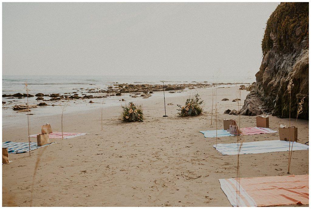 Turkish towels setup for seating at Santa Barbara intimate wedding
